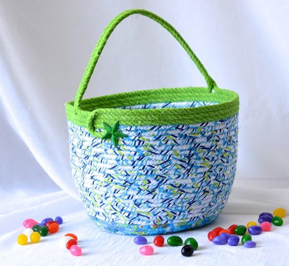Boy Easter Bucket, Handmade Blue Easter Basket, Boy Keepsake Basket, Toy Storage, Easter Egg Hunt Bucket, Jelly Bean Bucket