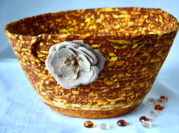 Fall Napkin Basket, Country Batik Basket, Round Fruit Bowl, Handmade Bread Basket, Key Catchall, Thanksgiving Basket, Remote Control Bin
