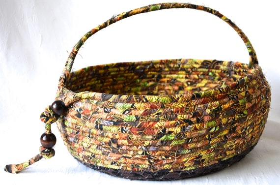 Abstract Bolga Basket, Handmade Textile Art Basket, Coiled Rope Basket with handle, Earth Tone Fabric Bin, Coffee Fern Basket