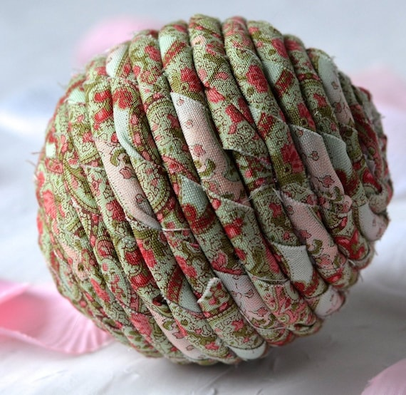 Red Rose Bowl Filler, Handmade Shabby Chic Decoration, Green Basket Filler, Hand Coiled Fiber Ball,  English Garden Home Decor