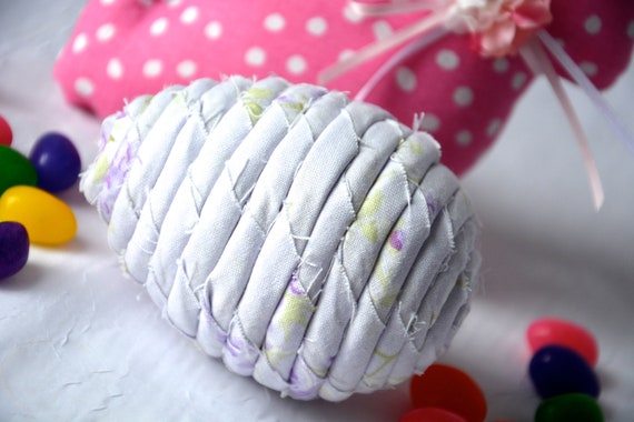 Fabric Easter Egg, Handmade Easter Decoration, Lavender Easter Egg, Cute Easter Basket Filler, Easter Egg Hunt Egg, Artisan Coiled