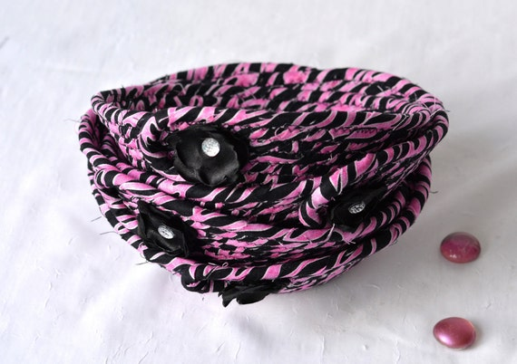 Birthday Party Favor, 1 Fun Fabric Basket, Whimsical Bling Bowl, Hot Pink Ring Dish, Unique Desk Accessory, Bachelorette FavorCute