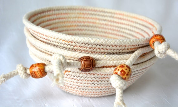 Rope Ring Dishes, Set of 4, Minimalist Potpourri Bowls, Handmade Rope Basket, Modern Clothesline Basket, Cottage Chic Bowl, Wall Decor Set