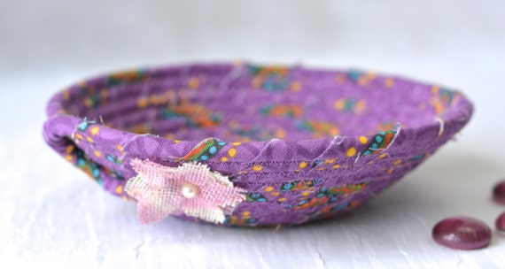 Violet Fabric Basket, Handmade Purple Bowl, Cute Candy Dish, Desk Accessory Basket, Ultra Violet Artisan Quilted Bowl, Ring Dish