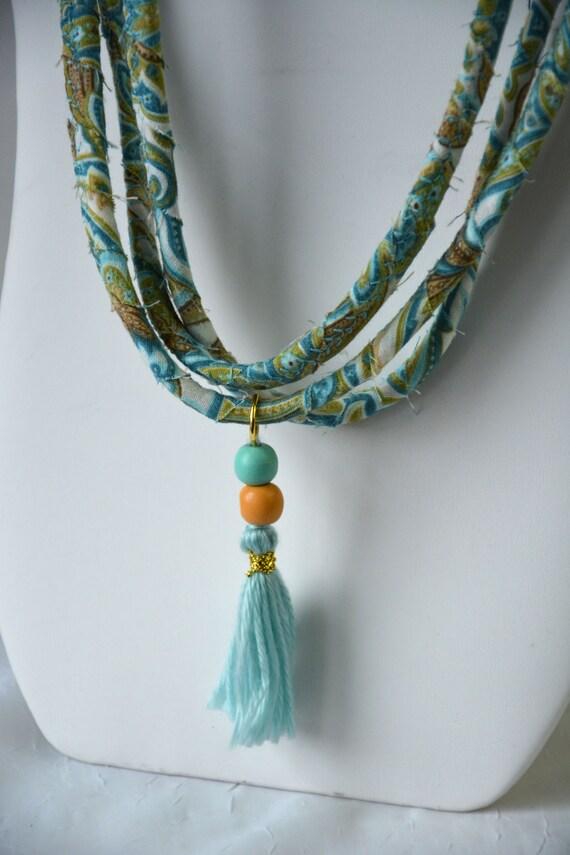 Aqua Tassel Necklace, Handmade Fiber Necklace, Cute Fabric Jewelry,  Unique Fabric Necklace
