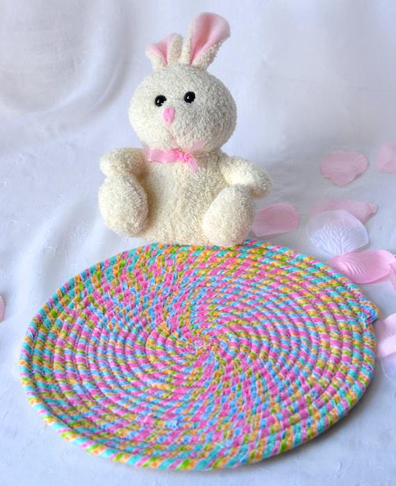"""Easter Decor Trivet, 10"""" Handmade Hot Pad, Lovely Table Topper Mat, Pink Potholder, 10"""" Fabric Place Mat, Cute Girl Room Decor"""