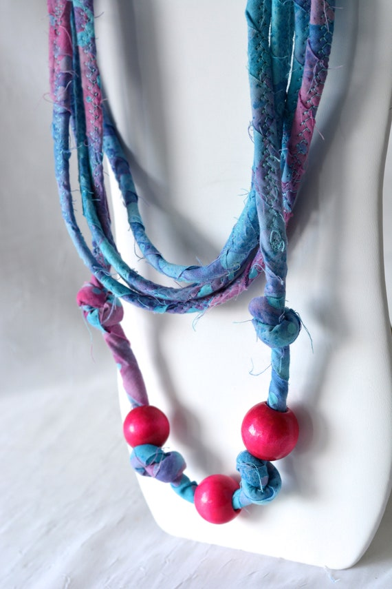 Boho Fabric Necklace, Handmade Beach Necklace, Multi Strand Infinity Necklace, Skinny Fashion Necklace, Trendy Fiber Wrap Jewelry