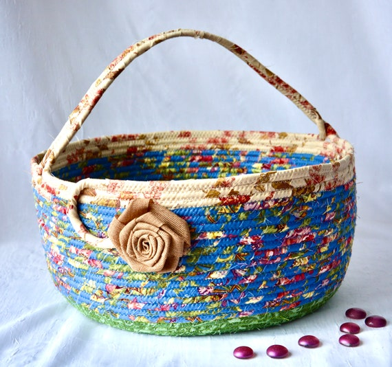 Blue Bolga Basket, Yarn Storage Bag, Handmade Textile Art Basket, Designer Basket with handle, Shabby Chic Fabric Bin, Garden Party