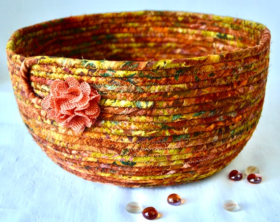 Fall Foliage Basket, Country Batik Basket, Round Fruit Bowl, Handmade Napkin Basket, Batik Fabric Home Decor, Thanksgiving Basket