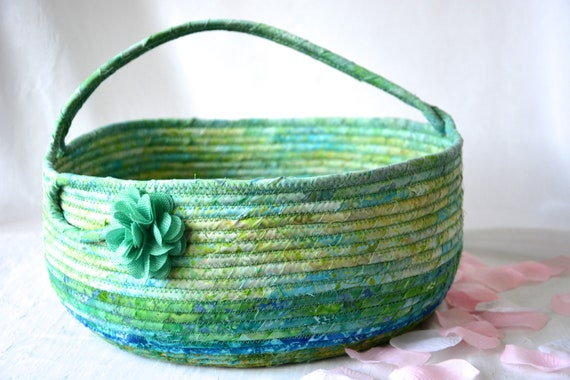 Green Handled Basket, Jade Storage Container, Handmade Textile Art Basket, Coiled Rope Basket with handle, Fabric Bin, Knitting Project Bag