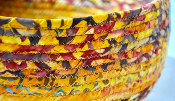 Fall Foliage Basket, Rustic Country Basket, Round Fruit Bowl, Handmade Rope Basket, Batik Fabric Home Decor, Storage Organizer