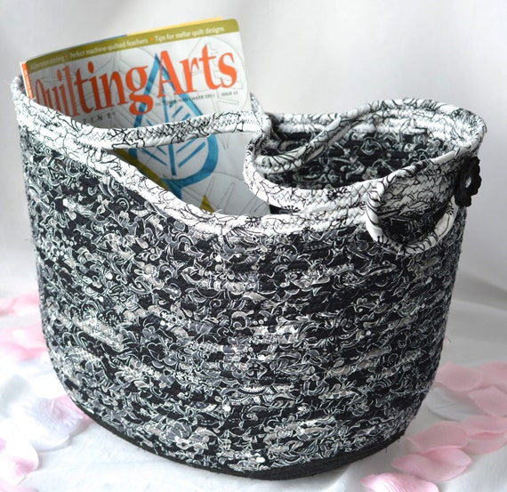 Black Designer Basket, Tote Bag, Handmade Black and White Beauty, Unique Gift Basket, Coiled Clothesline Tote Bag, Storage Organizer