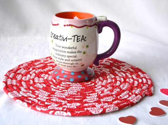 "Valentine's Day Trivet, 10"" Handmade Hot Pad, Lovely Table Topper Mat, Red Potholder, 10"" Fabric Place Mat, Cute Girl Room Decor"