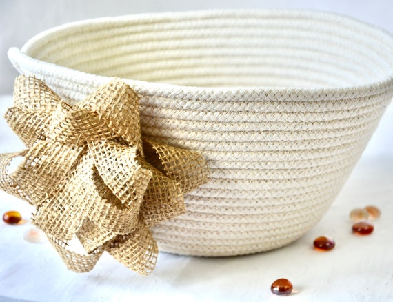 Burlap Bow Bowl, Handmade Gift Basket, Neutrals Clothesline Basket, Lovely Shower Gift, Country Bow Home Decor,  hand coiled rope basket