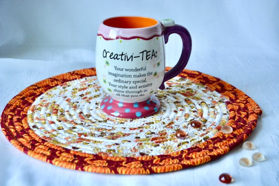 "Thanksgiving Hot Pad, Fall Foliage Trivet, 1 Place Mat, Handmade Trivet, 12"" Burnt Red Table Mat, Potholder, Table Topper, Orange Place Mat"