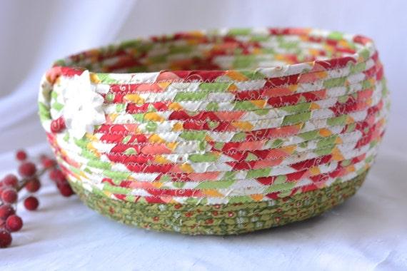 Christmas Card Basket, Quilted Christmas Bowl, Homemade Christmas Home Decor, Holiday Decoration,  Handmade Coiled Rope Basket