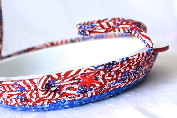 July 4th Party Decor, Patriotic Cookie Caddy, Red White and Blue Party Bowl, Paper Plate Basket, Picnic Decoration, Dessert Carrier