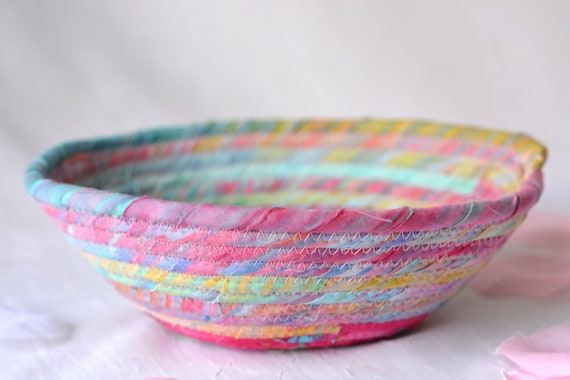 Boho Batik Basket, Handmade Scrappy Bowl, Candy Dish, Quilted Cotton Basket, Rustic Chic Fabric Bowl, Coiled Change Bowl