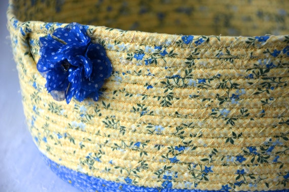 Spring Fabric Basket, Handmade Quilted Basket, Lovely Blue and Yellow Coiled Basket, Decorative Home Decor Bowl, Knitting Project Bin