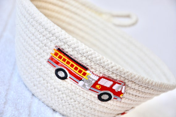 Fire Engine Bowl, Handmade Ring Basket, Cute Nursery Decor, Fire Truck Candy Dish, Firehouse Key Dish, Desk Accessory, Boy Toy Holder