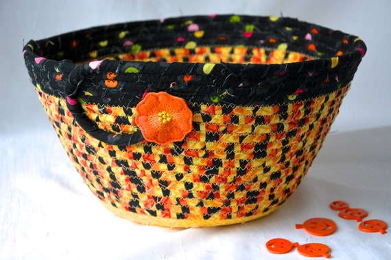 Halloween Candy Bucket, Handmade Fall Fruit Bowl, Black and Orange Quilted Basket, Hand Coiled Fabric Basket, Fall Napkin Holder