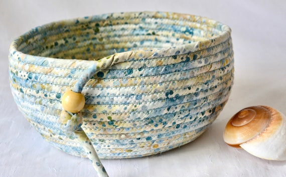 Blue Neutrals Basket, Handmade Country Fabric Bowl, Candy Dish, Sandy Beach Basket, Cottage Chic Bowl, Key Change Bowl