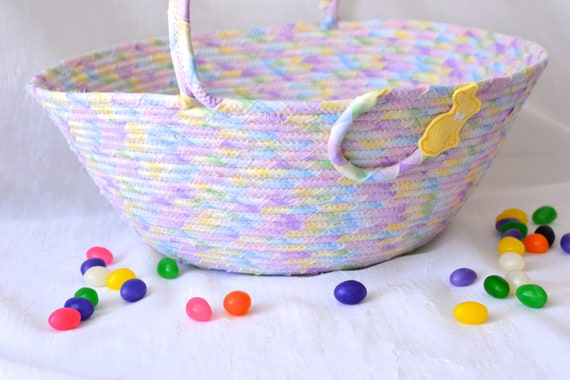 Violet Flower Girl Basket, Lavender Nursery Home Decor, Girl Easter Basket, Handmade Flower Girl Basket, Clothesline Coiled Art Basket,