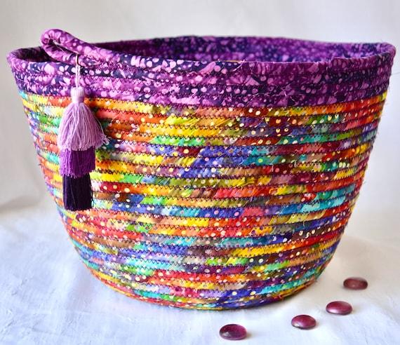 Purple Batik Basket, Handmade Fruit Bowl, Fun Fabric Bowl with tassel, Napkin Holder, Pretty Bread Basket, Artisan Coiled Bowl