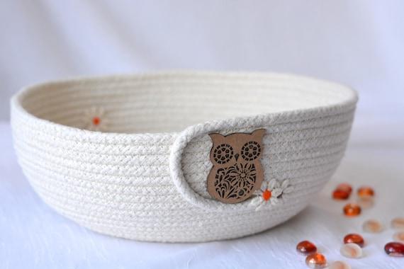 Minimalist Owl Bowl, Handmade Rope Basket, Primitive Clothesline Basket, Phone Holder, Rustic Yarn Bowl,  hand coiled natural rope basket