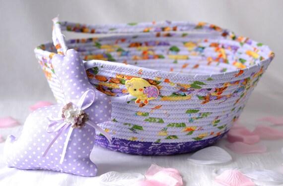 Easter Basket and bunny, Handmade Lavender Easter Decoration, Easter Egg Hunt Tote Bag, Whimsical Purple Easter Bucket, Spring Home Decor