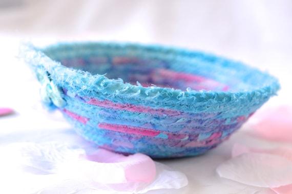 Cute Blue Decoration, Fabric Gift Basket, Cute Spring Bowl, Handmade Ring Dish, Batik Rope Coiled Basket, Cute Desk Accessory, Candy Bowl