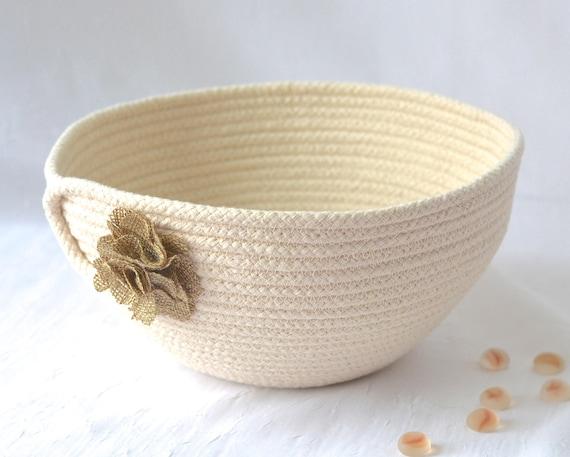 Natural Rope Bowl, Handmade Rope Basket, Minimalist Clothesline Basket, Rustic Primitive Yarn Bowl,  hand coiled natural rope basket