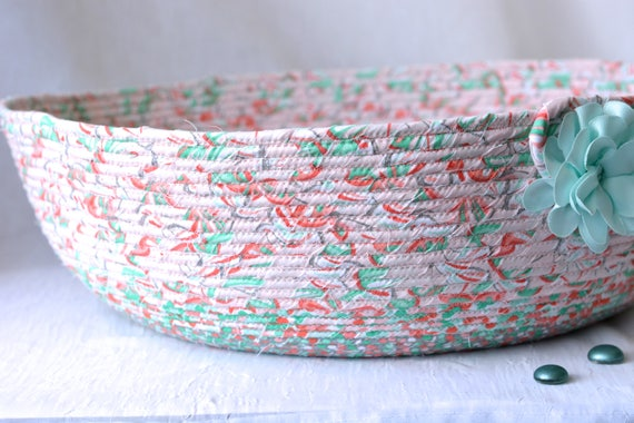 Mint Blanket Bin, Handmade Scarf Basket, Hat Bin, Knitting Yarn Holder, Beautiful Home Decor, Pillow Storage Organizer, Toy Bin