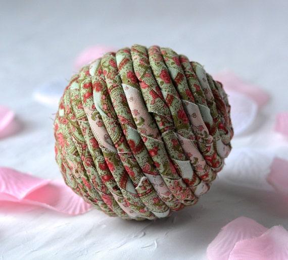 Red Rose Ornament, Handmade Christmas Decoration, Green Bowl Filler, Hand Coiled Fiber Christmas Ball,  Holiday Home Decor
