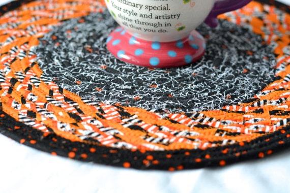 "Handmade Artisan Quilted Place Mat Trivet, 12"" Homemade Hot Pad, Lovely Black and Orange Table Topper, Mug Rug, Hot Pad"