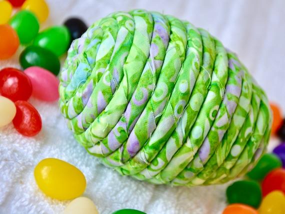Green Easter Egg Ornament, 1 Batik Fabric Egg, Handmade Easter Decor, Easter Egg Hunt, Hand Coiled Fiber Easter Egg, Fun Green Easter Egg