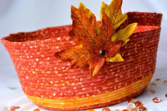 Fall Gift Basket, SALE. Handmade Rustic Bowl, Homemade Boho Basket, Clothesline Fabric Bowl,  Fall Leaf Decoration