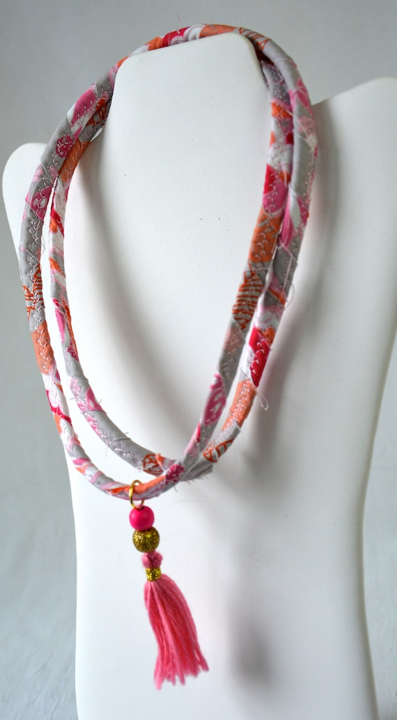Summer Tassel Necklace, Handmade Pink Necklace, Cute Fabric Jewelry,  Women Beach Jewelry, Unique Rope Necklace