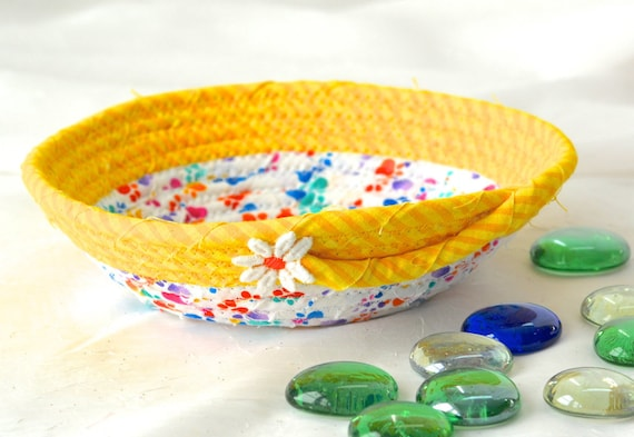 Cute Dog Toy Basket, Fun Ring Dish Bowl, Handmade Fabric Basket, Quilted Rope Basket, Cat Paw Print Bowl, Desk Accessory Bowl