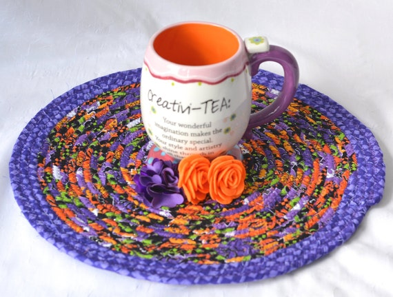 "Purple Halloween Trivet 12"", Halloween Decoration, Handmade Purple Mug Rug, 12""  Place Mat, Lovely Black and Purple Table Mat"