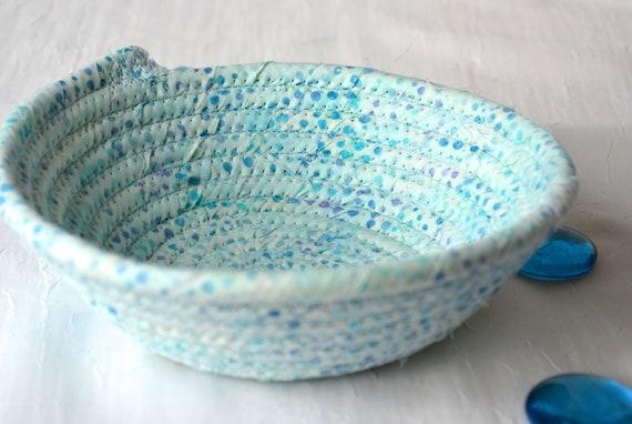 Seaside Batik Basket, Handmade Blue Artisan Bowl, Candy Dish, Quilted Cotton Basket, Beach Cottage Chic Fabric Bowl, Key Change Bowl