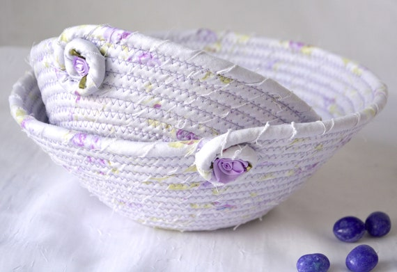 Cute Nesting Bowls, 2 Handmade Fabric Baskets, Lavender Ring Dishes, Key Holder Trays, Catchalls, Jewelry Trays, Lilac Home Decor