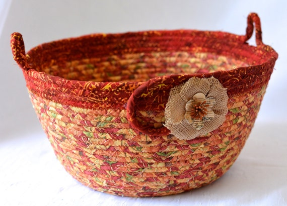 Fall Red Basket, Handmade Fabric Bowl, Autumn Gift Basket, Napkin Holder, Fall Fruit Bowl, Table Home Decor, Terra Cotta Decoration