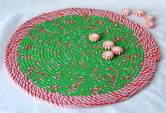 "Holiday Table Decor, Christmas Candy Cane Place Mat, Handmade Hot Pad,  12"" Trivet, Table Mat, Lovely Christmas Decoration"