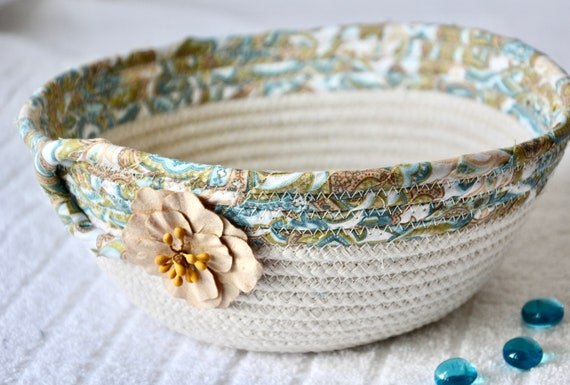 Blue Potpourri Basket, Handmade Turquoise Bowl, Blue Ring Dish, Beige Rope Bowl, Cute Desk Accessory, Candy Dish, Gift Basket