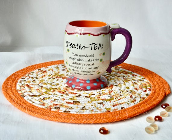 "Fall Place Mat, 1 Handmade Trivet, 12"" Burnt Orange Table Mat, Potholder, Table Topper, Thanksgiving Hot Pad, Orange Red Place Mat"