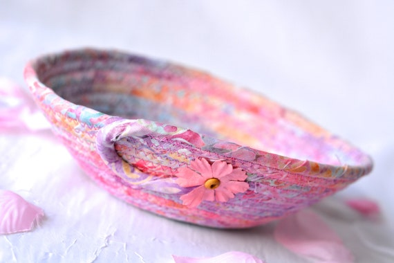 Mother's Day Gift, Boho Potpourri Basket, Handmade Batik Bowl, Candy Dish, Quilted Cotton Basket, Coiled Change Coin Bowl, Key Tray