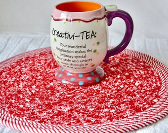 """Red Snowflake Trivet, 12"""" Handmade Coiled Hot Pad, Lovely Table Topper Mat, Winter Potholder, 1 Fabric Place Mat, Fun Home Decor"""