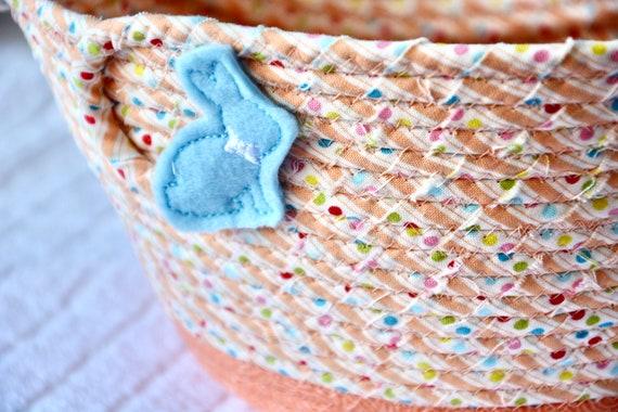 Easter Basket for Child, Girl Easter Bucket, Handmade Spring Decor Bowl, Easter Egg Hunt Bag, Easter Decoration, Free Name Tag