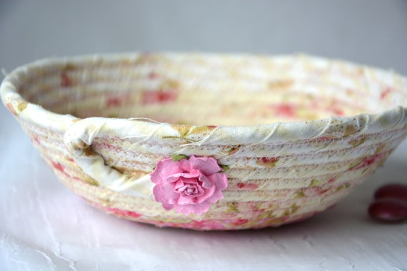 Floral Ring Dish, Shabby Chic Basket, Handmade Pink Potpourri Bowl, Cute Desk Accessory, English Garden Gift Basket